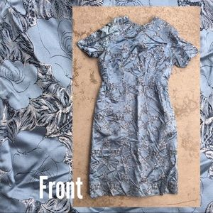 Vintage Blue Rose Pattern Wiggle Dress